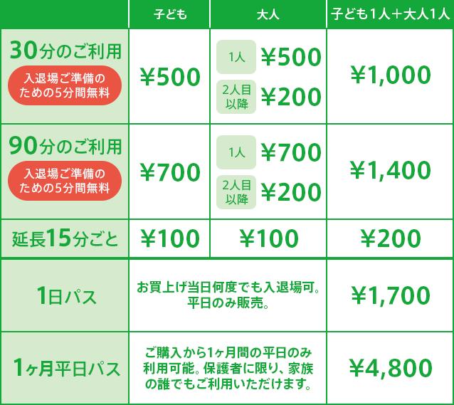 トット・ガーデン ハレノテラス東大宮店ご利用料金