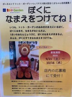 周年祭イベント!!くまちゃんの名前募集中♪
